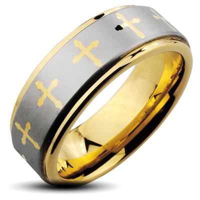 Tungsten Carbide IP Gold and Brushed Ring With Cross Decorations