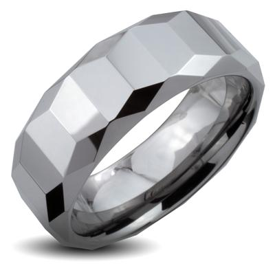 Tungsten Carbide Ring With Trapezoid Prism with Cutting Edges Design