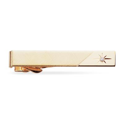 Gold Tie Clip with Sparkling Accent