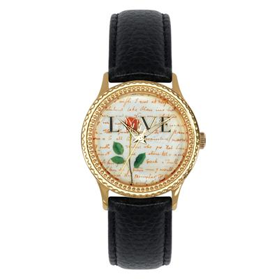 "Postal Service Collection ""Rose Flower Love"" Watch with Black Leather Strap"