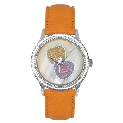 "Postal Service Collection ""I Heart You"" Watch with Orange Leather Strap"