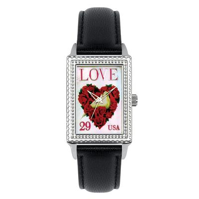 Postal Service Collection Rose Heart Stamp Watch with Black Leather Strap