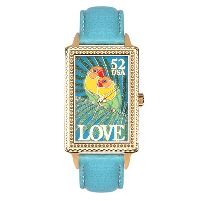 "Postal Service Collection ""Love Birds"" Watch with Blue Leather Strap"