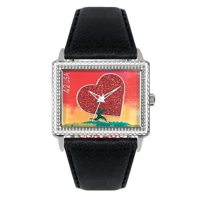 "Postal Service Collection ""Running With Your Heart"" Watch with Black Leather Strap"