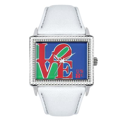 "Postal Service Collection ""Mod Love"" Watch with White Leather Strap"