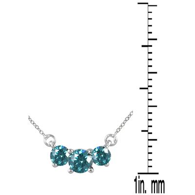 1/4 Carat TW Blue Diamond Three Stone Pendant Necklace in 14K White Gold