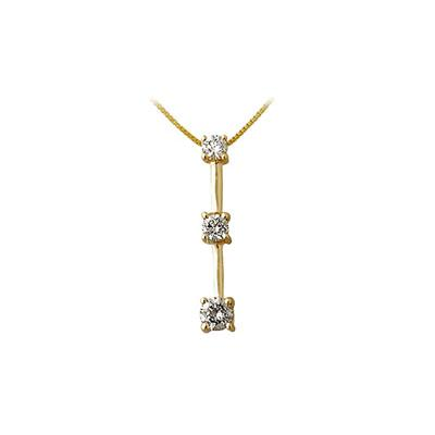 1/7CTW Three Stone Diamond Drop Pendant 10K Yellow Gold