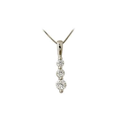 .25CTW Three Stone Diamond Drop Pendant 14K White Gold