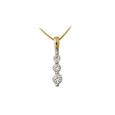 .25CTW Three Stone Diamond Drop Pendant 14K Yellow Gold