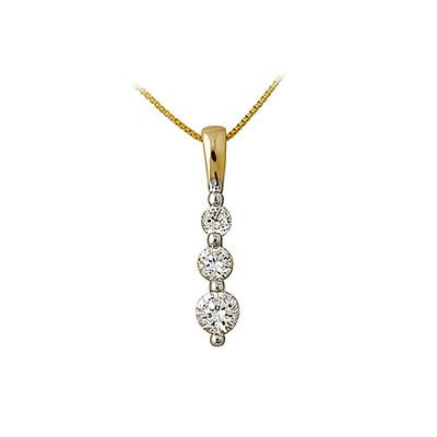 .50CTW Three Stone Diamond Drop Pendant 14K Yellow Gold