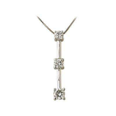 1.00CTW Classic Diamond Three Stone Pendant in 14K White Gold