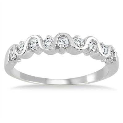 1/2 Carat Diamond Wave Band in 10K White Gold
