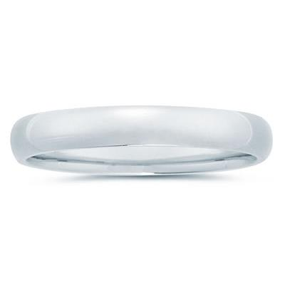 4 mm Plain Domed Comfort-Fit Wedding Band in 18k White Gold