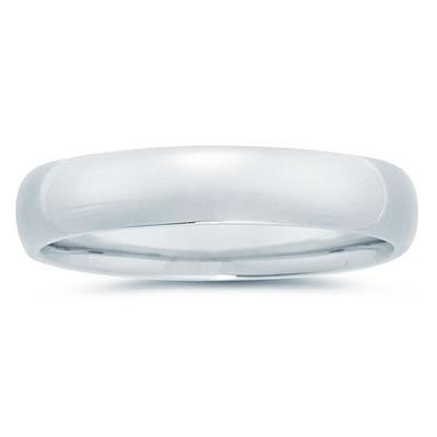 5 mm Plain Domed Comfort-Fit Wedding Band in 18k White Gold