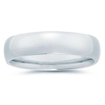 6 mm Plain Domed Comfort-Fit Wedding Band in 18k White Gold