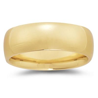 8 mm Plain Domed Comfort-Fit Wedding Band in 14k Yellow Gold