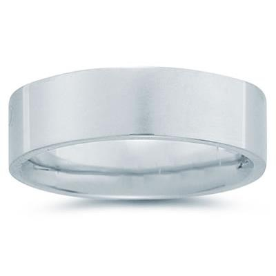 7 mm Plain Flat Comfort-Fit Wedding Band in Platinum