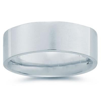 8 mm Plain Flat Comfort-Fit Wedding Band in 18k White Gold