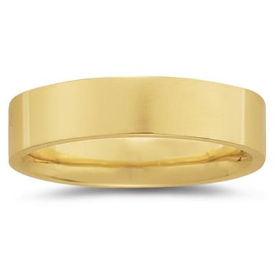 6 mm Plain Flat Comfort-Fit Wedding Band in 18k Yellow Gold