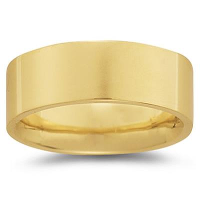 8 mm Plain Flat Comfort-Fit Wedding Band in 18k Yellow Gold