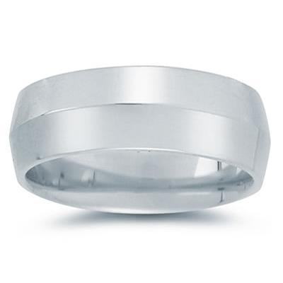 8 mm Knife Edge Comfort-Fit Wedding Band in 10k White Gold