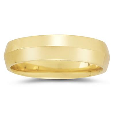 6 mm Knife Edge Comfort-Fit Wedding Band in 10k Yellow Gold