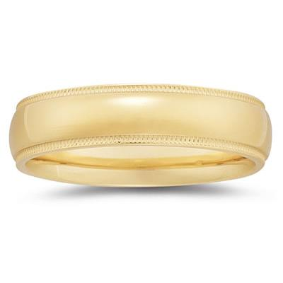 6 mm Milgrain Edge Comfort-Fit Wedding Band in 14k Yellow Gold