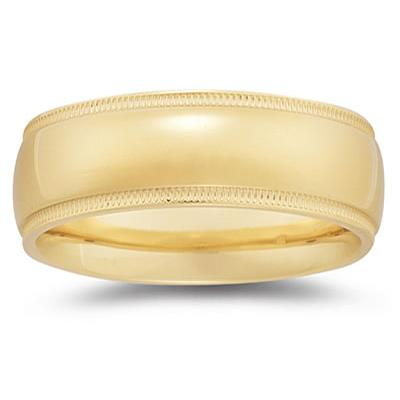 8 mm Milgrain Edge Comfort-Fit Wedding Band in 18k Yellow Gold