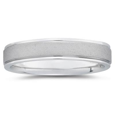5 mm Brushed Center Comfort-Fit Wedding Band in 18k White Gold