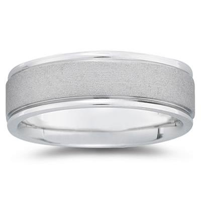 7 mm Brushed Center Comfort-Fit Wedding Band in 18k White Gold