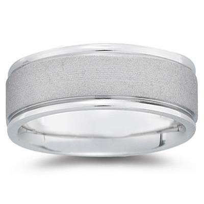 8 mm Brushed Center Comfort-Fit Wedding Band in 18k White Gold