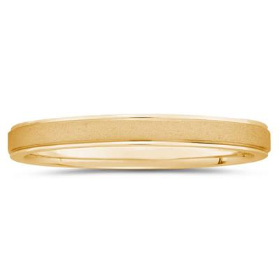 3 mm Brushed Center Comfort-Fit Wedding Band in 18k Yellow Gold