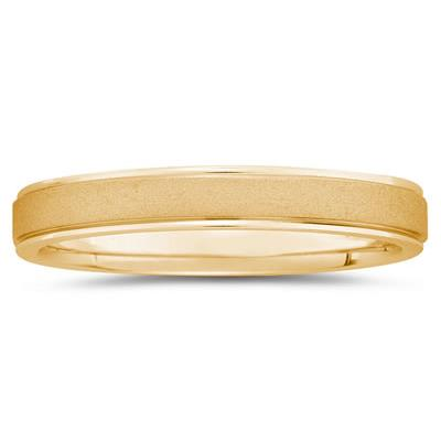 4 mm Brushed Center Comfort-Fit Wedding Band in 14k Yellow Gold