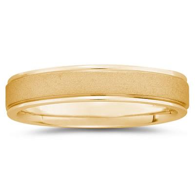 5 mm Brushed Center Comfort-Fit Wedding Band in 18k Yellow Gold