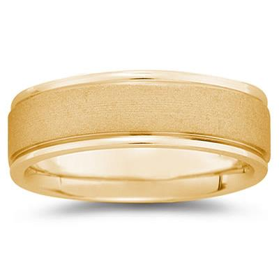 7 mm Brushed Center Comfort-Fit Wedding Band in 18k Yellow Gold
