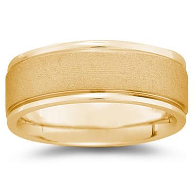 8 mm Brushed Center Comfort-Fit Wedding Band in 14k Yellow Gold