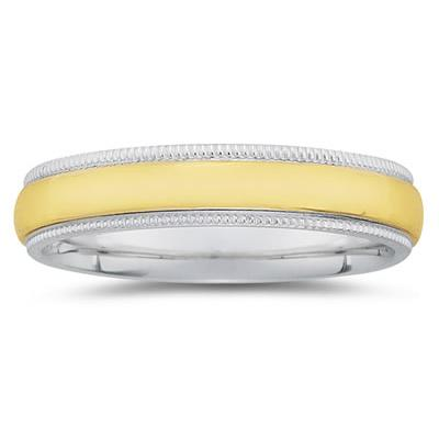 5 mm Two Toned White Milgrain Edge Comfort-Fit Wedding Band in 14k Two-Tone Gold