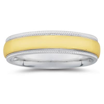 6 mm Two Toned White Milgrain Edge Comfort-Fit Wedding Band in 18k Two-Tone Gold
