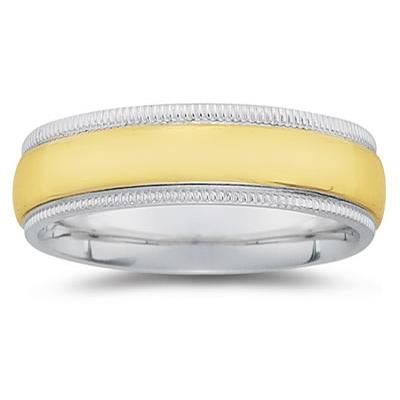 7 mm Two Toned White Milgrain Edge Comfort-Fit Wedding Band in 14k Two-Tone Gold