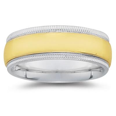 8 mm Two Toned White Milgrain Edge Comfort-Fit Wedding Band in 14k Two-Tone Gold