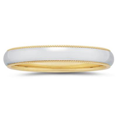 4 mm Two Toned YellowMilgrain Edge Comfort-Fit Wedding Band in 18k Two-Tone Gold