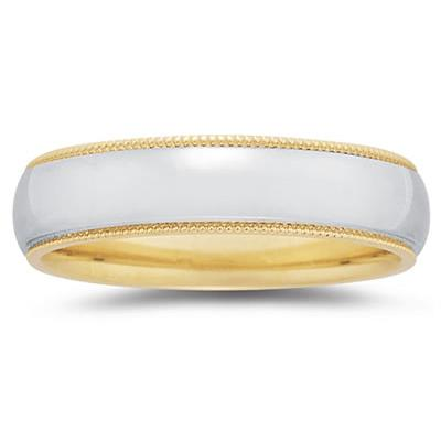 6 mm Two Toned YellowMilgrain Edge Comfort-Fit Wedding Band in 14k Two-Tone Gold