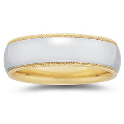 7 mm Two Toned YellowMilgrain Edge Comfort-Fit Wedding Band in 14k Two-Tone Gold