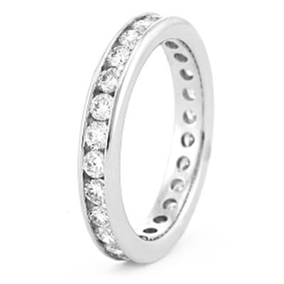 0.57 CT Round Diamond Eternity Band in 14K White Gold Channel setting