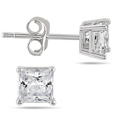 1/4 Carat Princess Diamond Solitaire Earrings in 14K White Gold
