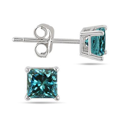 1/2 Carat Princess Cut Blue Diamond Solitaire Earrings in 14K White Gold