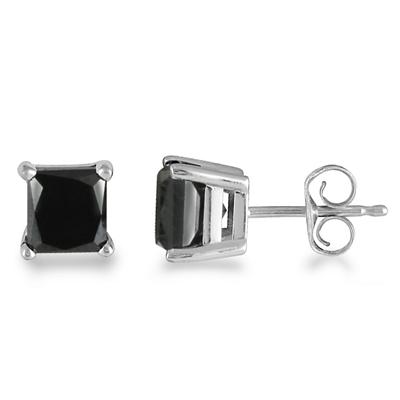 1/2 Carat Black Diamond Princess Cut Stud Earrings in 14K White Gold