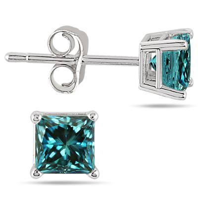 3/4 Carat Princess Cut Blue Diamond Solitaire Earrings in 14K White Gold