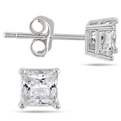 1 Carat Princess Diamond Solitaire Earrings in 14K White Gold