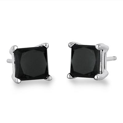 1.50 Carat Black Diamond Princess Cut Stud Earrings in 14K White Gold